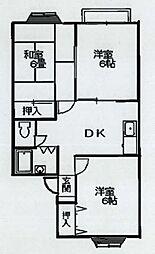 東京都羽村市羽中1丁目の賃貸アパートの間取り