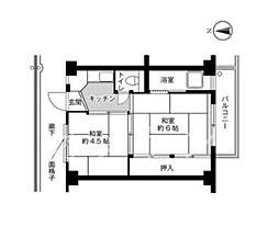 ビレッジハウス片山2号棟[307号室]の間取り