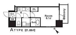 エスリード福島レジデンス 9階1Kの間取り