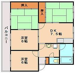 福岡県春日市上白水5丁目の賃貸マンションの間取り
