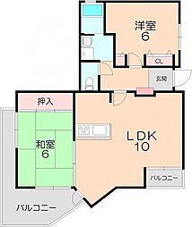 アジュール上野西[3階]の間取り
