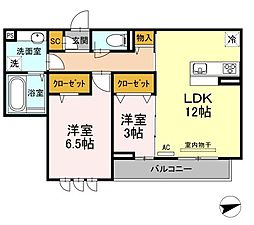 広島県福山市新涯町6丁目の賃貸アパートの間取り