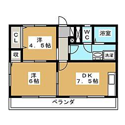 栃木県宇都宮市上横田町の賃貸マンションの間取り