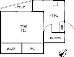 みどり荘[2F号室]の間取り
