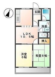 岐阜県可児市下恵土の賃貸アパートの間取り