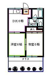 埼玉県新座市野寺5丁目の賃貸アパートの間取り