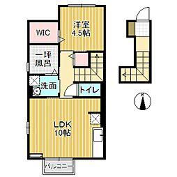 D-roomウィル 2階1LDKの間取り