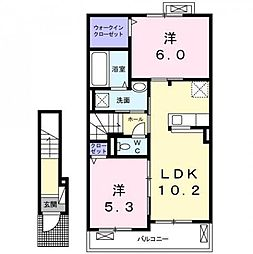 JR東海道本線 焼津駅 バス13分 石津南下車 徒歩6分の賃貸アパート 2階2LDKの間取り