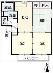 ドミール弐番館[1階]の間取り
