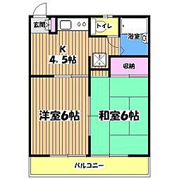 谷田部ハイム[2階]の間取り