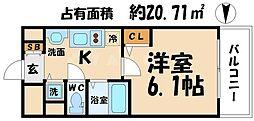 プレサンス心斎橋ルティア[5階]の間取り