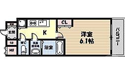 ファステート蒲生公園アペルザ 8階1Kの間取り
