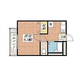 パナハイツ宝西[1階]の間取り
