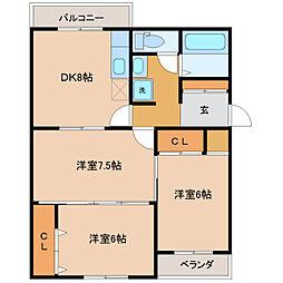 富山県富山市布瀬本町の賃貸アパートの間取り