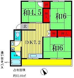 秋山コーポラス[1階]の間取り