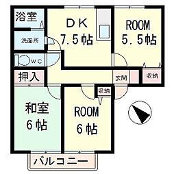滋賀県守山市播磨田町の賃貸アパートの間取り