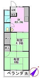 第2西町コーポ[202号室]の間取り