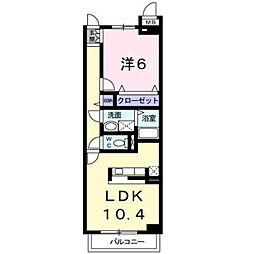 JR武蔵野線 府中本町駅 徒歩12分の賃貸マンション 1階1LDKの間取り