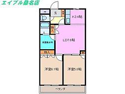 三重県桑名市長島町松ケ島の賃貸アパートの間取り