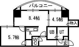 北海道札幌市中央区宮の森三条3丁目の賃貸マンションの間取り