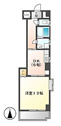 愛知県名古屋市東区東片端町の賃貸マンションの間取り