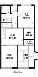 東京都福生市南田園3丁目の賃貸マンションの間取り