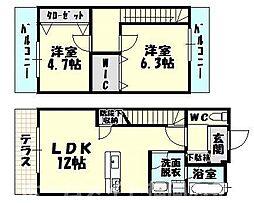 [テラスハウス] 福岡県糟屋郡志免町片峰2丁目 の賃貸【/】の間取り