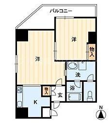 香川県高松市西の丸町の賃貸マンションの間取り