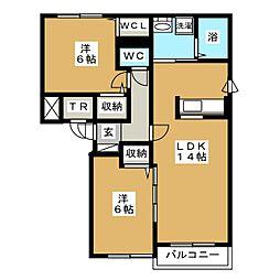 北海道札幌市東区北三十三条東17丁目の賃貸マンションの間取り