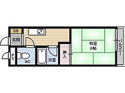 第12いほり都島マンション 2階1DKの間取り