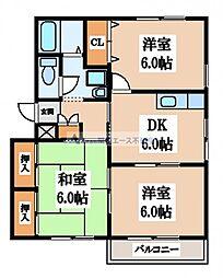 大阪府東大阪市新家3丁目の賃貸アパートの間取り