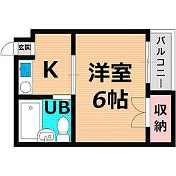 Osaka Metro長堀鶴見緑地線 蒲生四丁目駅 徒歩7分の賃貸マンション 2階1Kの間取り