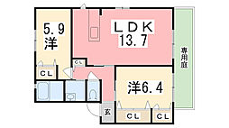 MASTCOURT加茂 B棟[102号室]の間取り