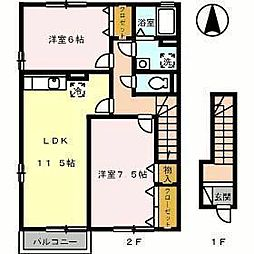 アランシア B棟[B103 号室号室]の間取り