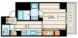 JR相模線 香川駅 徒歩1分の賃貸マンション 5階1Kの間取り
