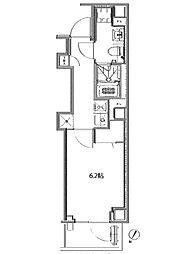 都営大江戸線 赤羽橋駅 徒歩3分の賃貸マンション 2階1Kの間取り