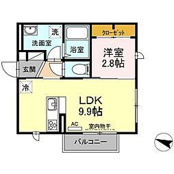 19ルーナー 2階1LDKの間取り