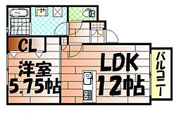 福岡県北九州市小倉北区今町1丁目の賃貸アパートの間取り