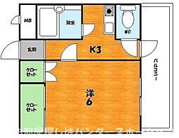 大阪府枚方市星丘4丁目の賃貸マンションの間取り