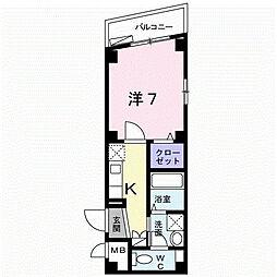 サクセス武庫川 4階1Kの間取り