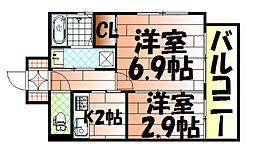 アベニュー黒崎[302号室]の間取り