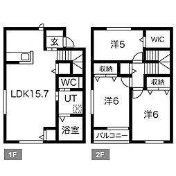 [テラスハウス] 栃木県栃木市箱森町 の賃貸【/】の間取り