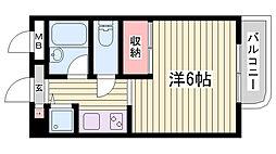 神戸市西神・山手線 伊川谷駅 徒歩10分の賃貸マンション 2階1Kの間取り