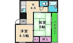 エフデージュII 3階2DKの間取り
