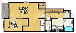 福岡県福岡市中央区桜坂2丁目の賃貸アパートの間取り