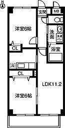 サンライズ勝川[203号室]の間取り