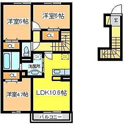 広島県東広島市八本松町米満の賃貸アパートの間取り