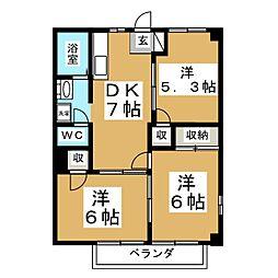 宮城県仙台市泉区山の寺2丁目の賃貸アパートの間取り