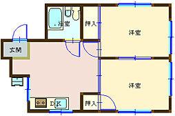 広島県呉市中央6丁目の賃貸マンションの間取り