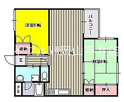 岡山県岡山市中区西川原の賃貸マンションの間取り